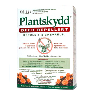 Plantskydd soluble powder 2 lb works to protect plants from deer, rabbits and elk all year long